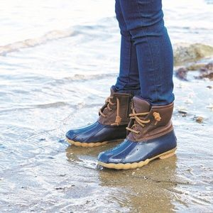 Navy blue and brown sperry duck boots